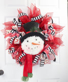 Christmas Snowman Deco Mesh Wreath