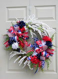 Double Bow Patriotic Wreath