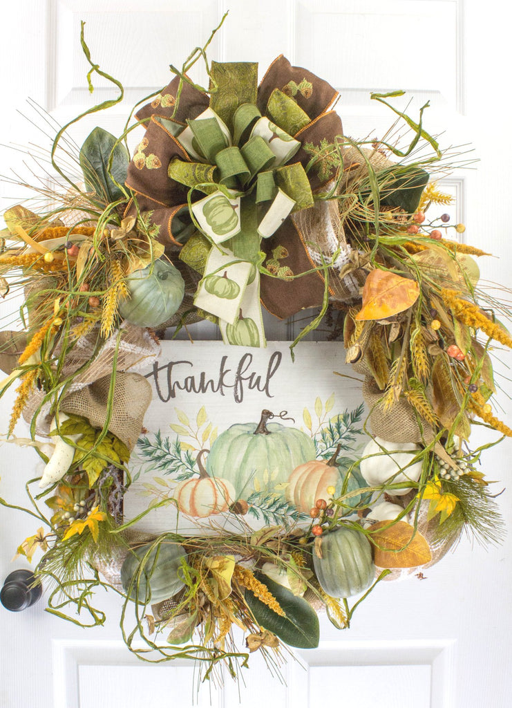 Thankful Pumpkin Grapevine Wreath