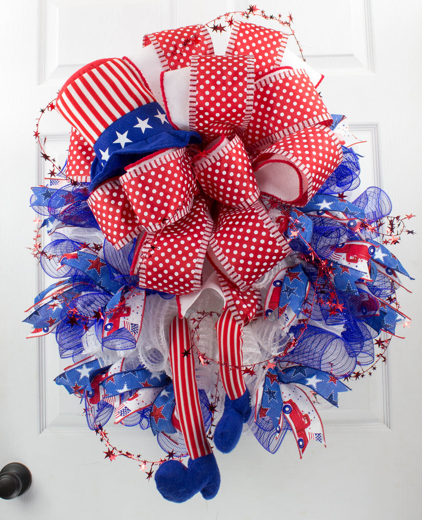 Bow on Bow Uncle Sam Patriotic Wreath