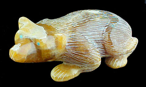 Golden Badger Fetish Zuni Indian Stone Animal Carving