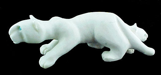 Mountain Lion With Cub Sculpture Zuni Indian Stone Animal Carving