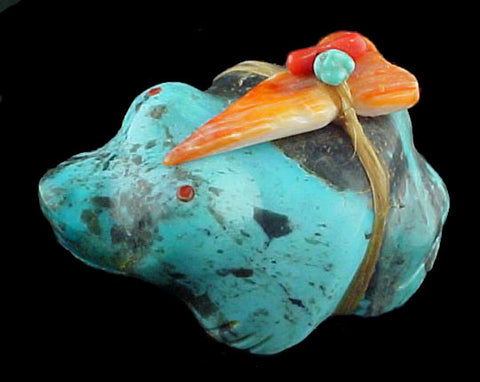 Turquoise Frog Fetish Zuni Indian Stone Animal Carving