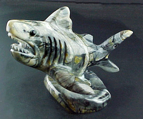 Great White Shark Fetish Zuni Indian Stone Fish Carving