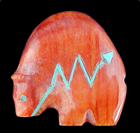 Stewart Quandelacy Orange Spiney Oyster Shell Miniature Medicine Bear Fetish Zuni Indian Carving