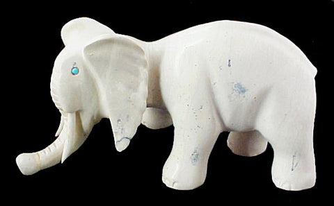 Serpentine Elephant Fetish Zuni Indian Stone Animal Carving