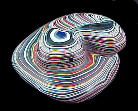 Colied Fordite Rattlesnake Fetish Zuni Indian Paine Reptile Carving