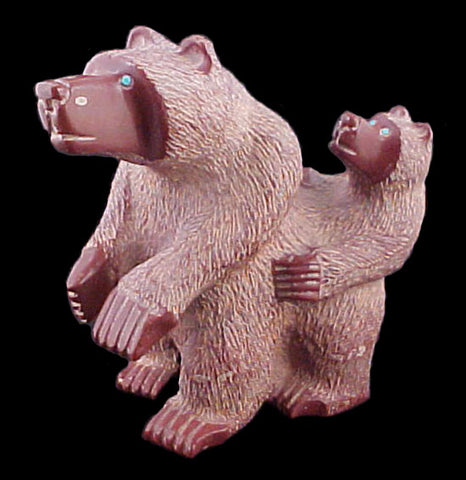 Mother and Cub Bear Sculpture Zuni Indian Stone Animal Carving