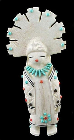 Elk Antler Tabletta Maiden Zuni Indian Fetish Carving