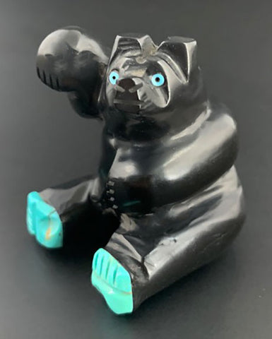 Black Sitting Waving Bear Fetish Navajo Indian Stone Animal Carving