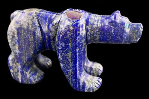 Lapis Bear Fetish Zuni Indian Stone Animal Carving