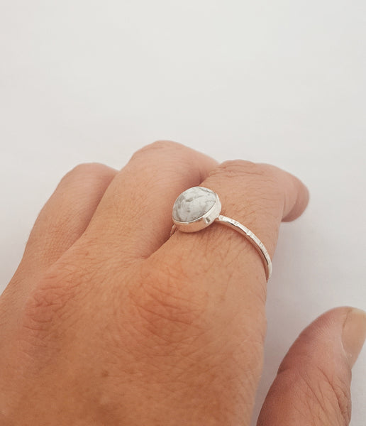 Howlite gemstone ring