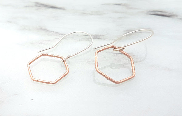 Rose gold hexagon earrings