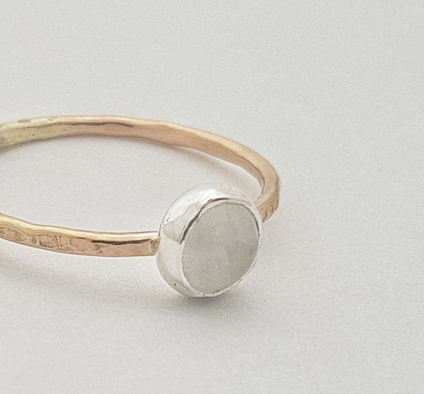 Rainbow moonstone on Gold filled band