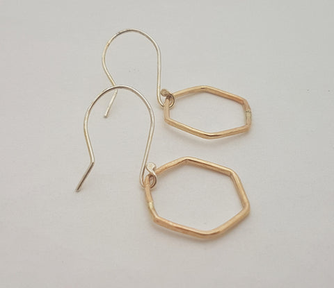 Hexagon Earrings in gold