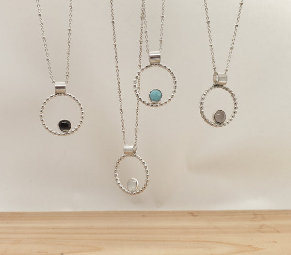 Silver stone circle necklace