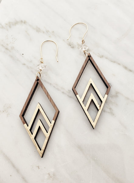 Walnut wooden earrings