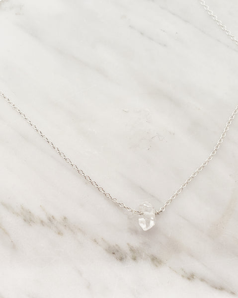 Herkimer on silver necklace