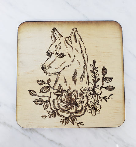 Wood Coaster (floral wolf)