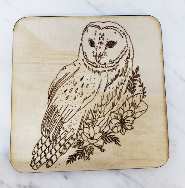 Wood Coaster (owl)