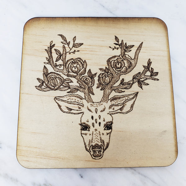 Wood Coaster (floral stag)