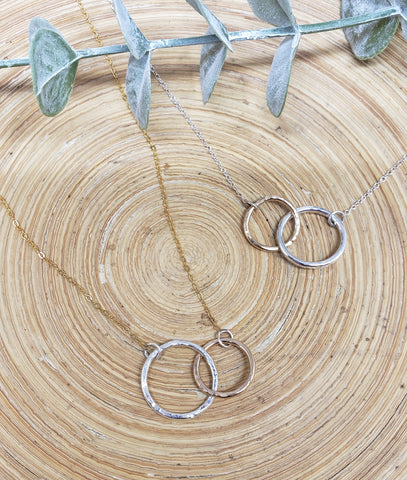 Double (smaller) circle necklace (gold & silver)