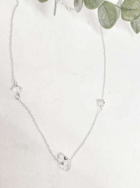 Herkimer necklace in sterling silver
