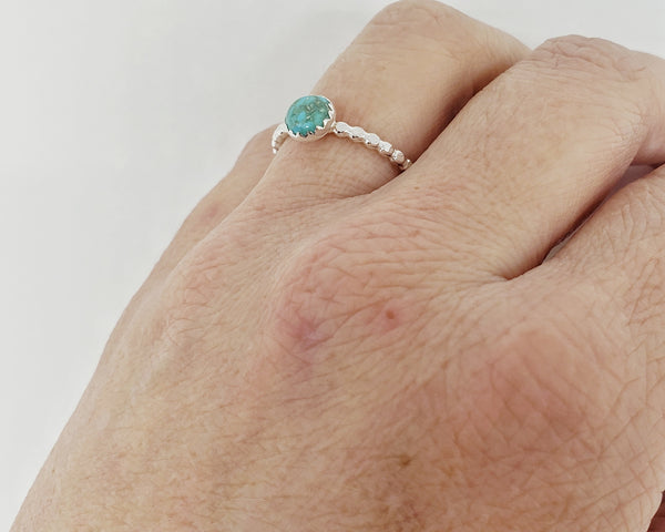 Turquoise ring on beaded band