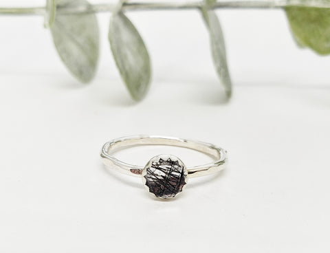 Rutilated quartz gemstone ring