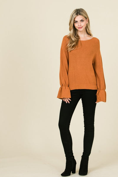 Bell Sleeve Camel Sweater
