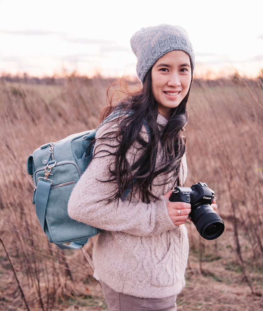 Winter Camera Bag Color Palette- Blue Hues and Dark Floral Tones