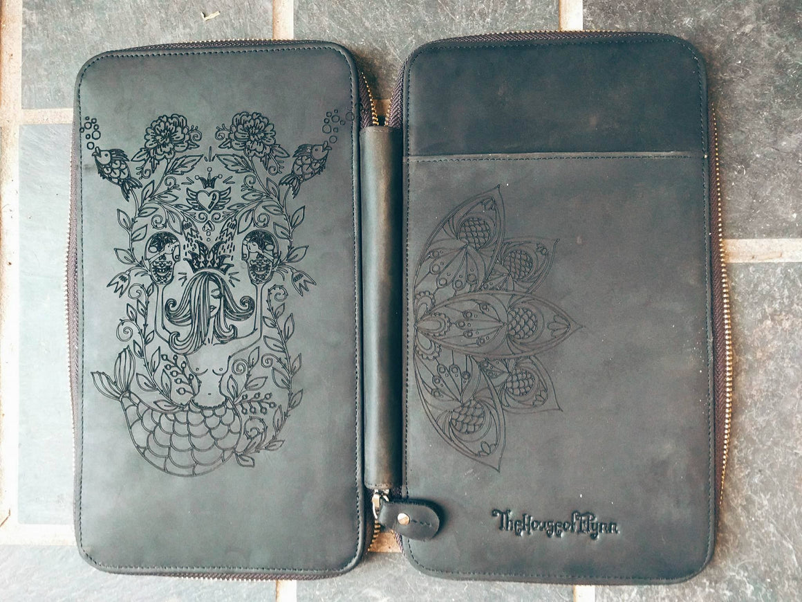 Mermaid Tribe Mandala Engraved Black Leather Traveler's Wallet