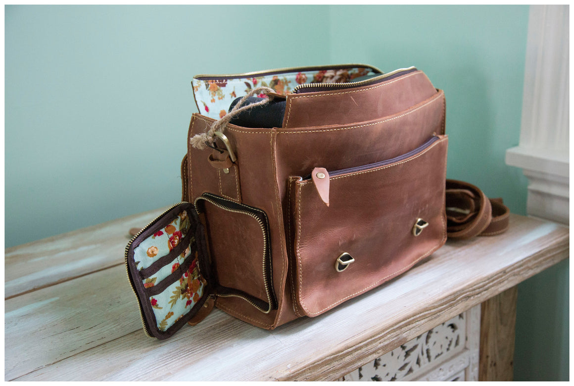 "Vintage Brown, Genuine Leather Messenger the ""Indie"""