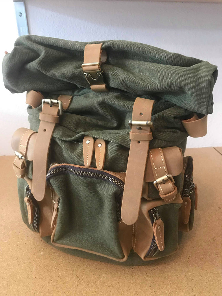 Wanderlust Rucksack- Olive Green and Light Gray