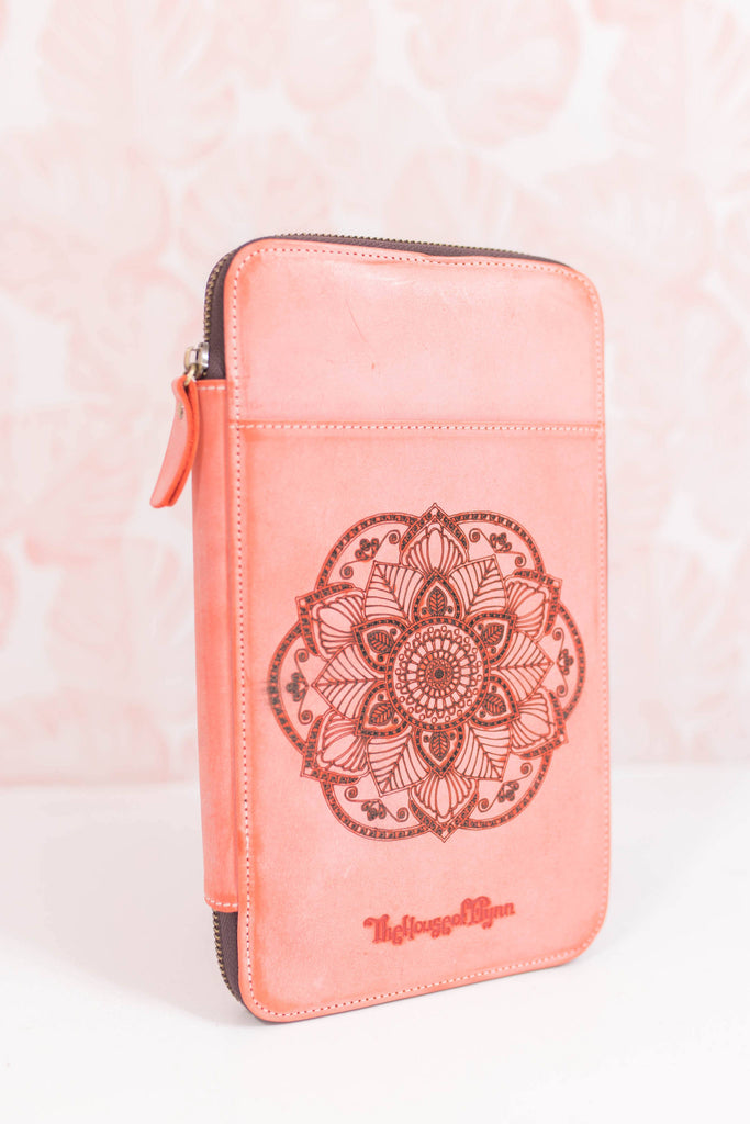 NEW! Powdered Coral Genuine Leather *Mandala Engraved* Traveler's Wallet