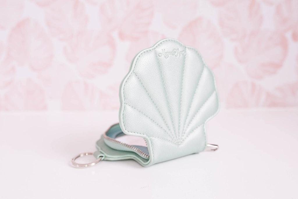 CLEARANCE- Seafoam Shell Keychain Cosmetic Mirror