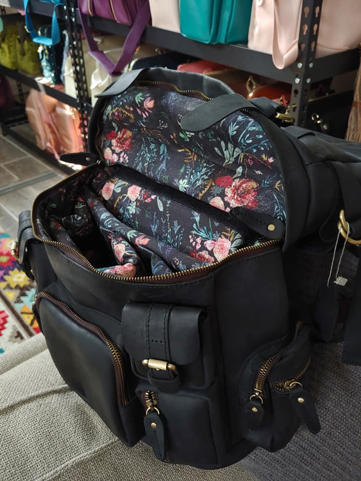 Full Leather Rucksack - Black Fable Floral