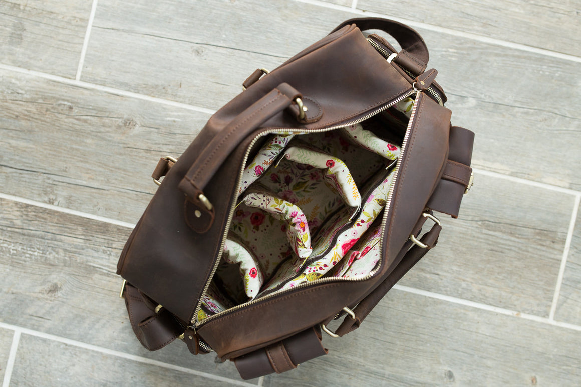 Genuine Dark Brown Leather Floral Evermore