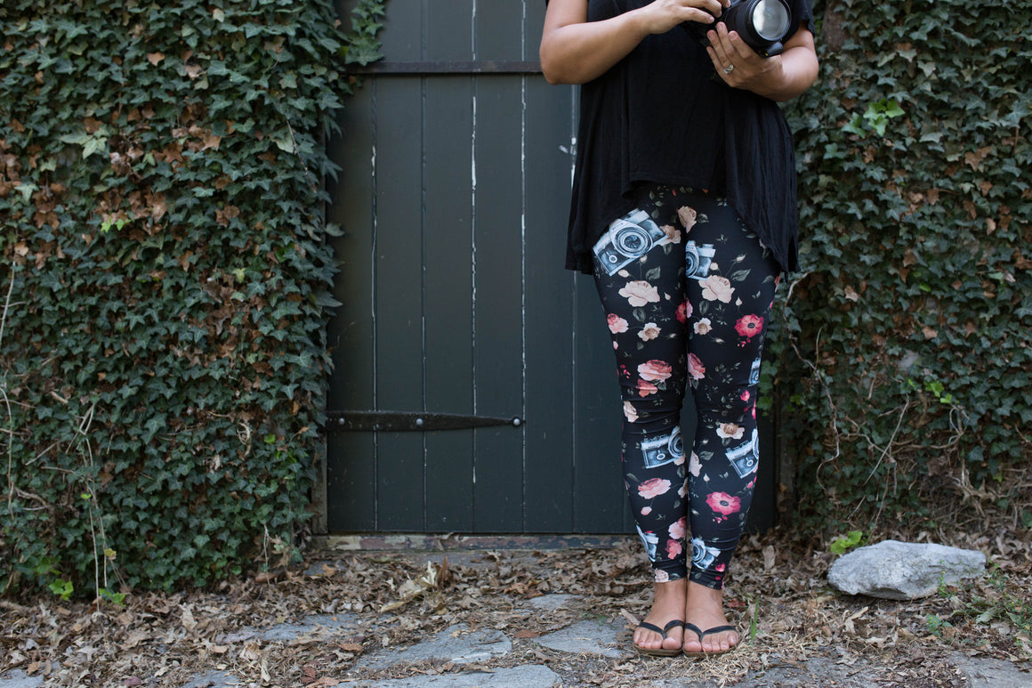 Black Floral Camera Leggings