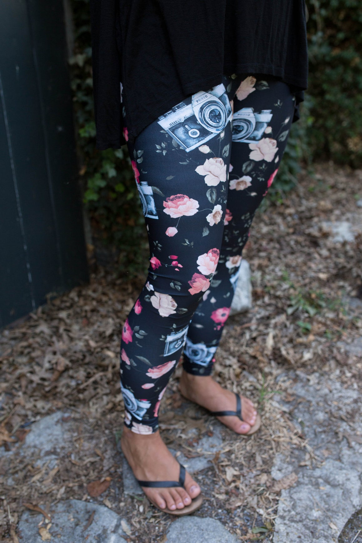 Women's Leggings- Black Floral Camera