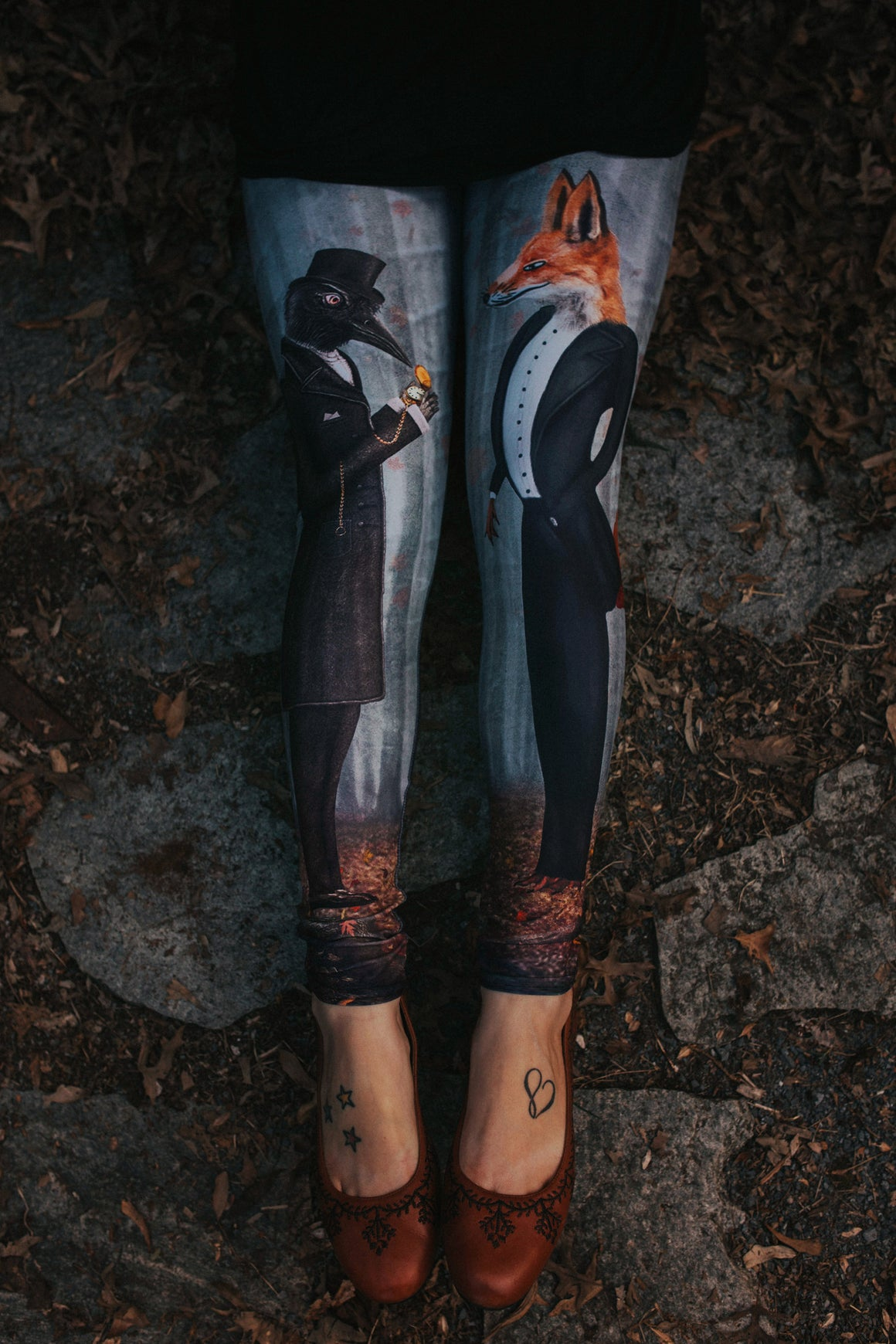 Women's Leggings- Tale of the Fox and Raven