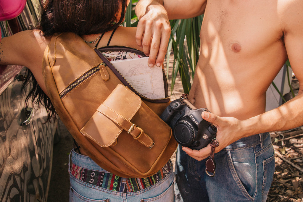 Black Leather Sling Camera Bag