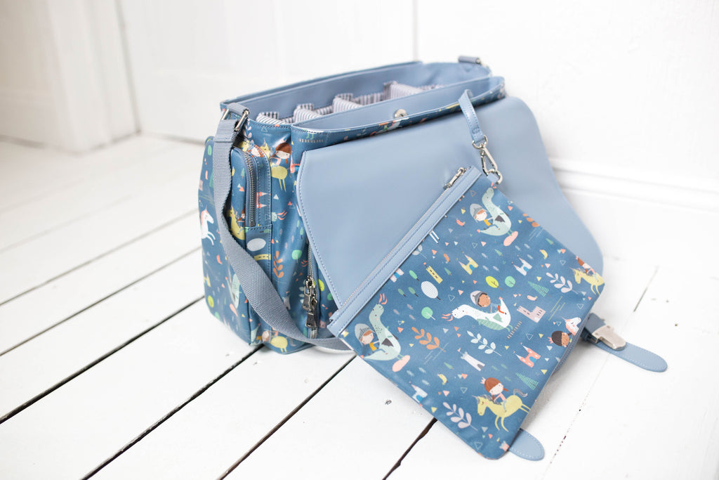 CLEARANCE- Dragons and Unicorns Diaper Bag- Siren
