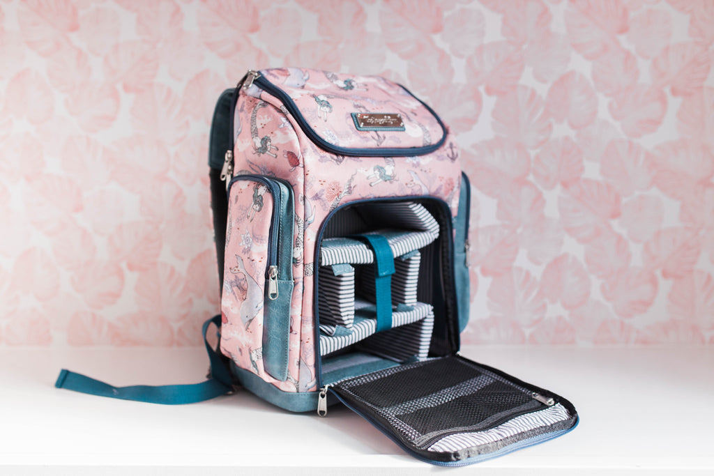 Oceana Mermaids Blue Diaper Bag - Backpack