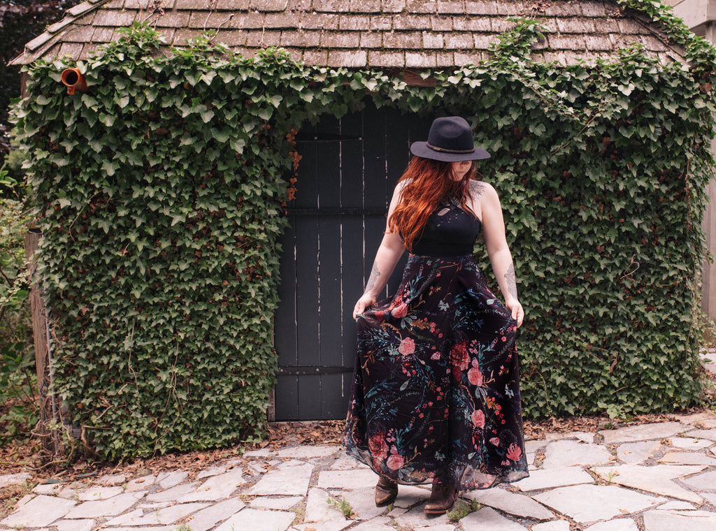 Black Fable Floral Wrap Skirt