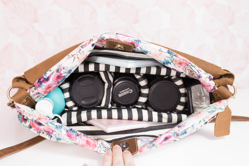 Camera Tote- Black Fable Floral