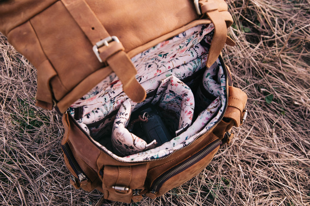 Full Leather Rucksack - Blush Fable Floral