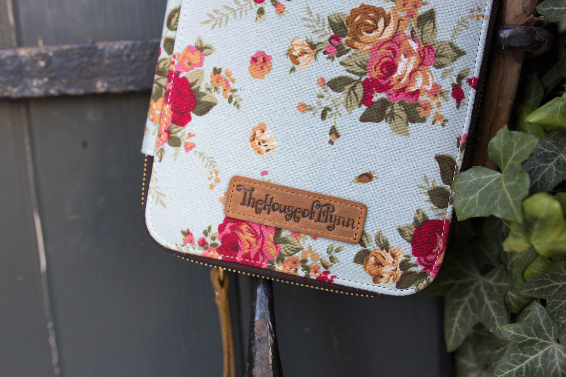 Clearance- Blue Floral Canvas Traveler's Wallet