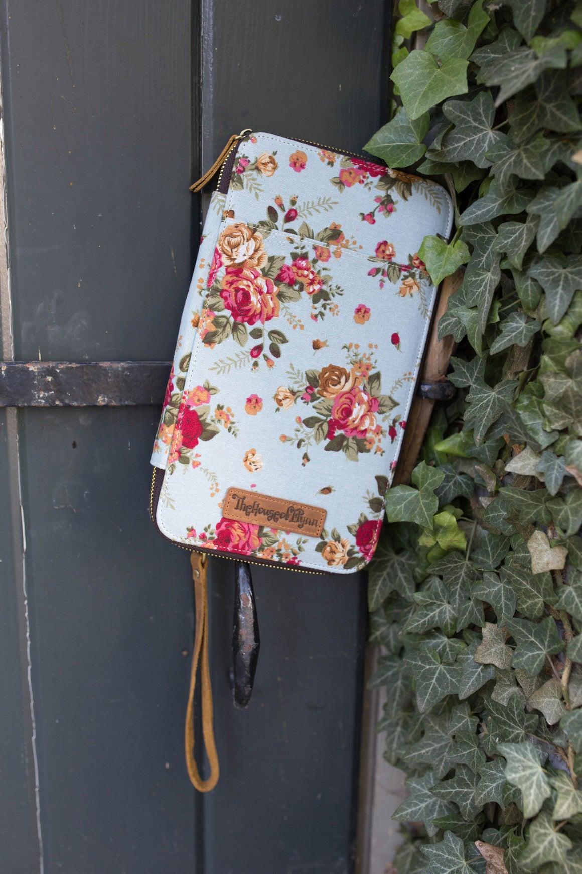 Blue Floral Canvas Traveler's Wallet