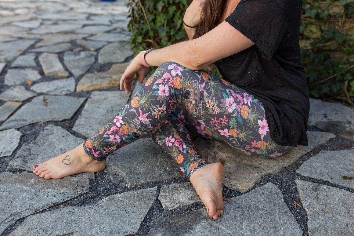 Women's Leggings- Vintage Tropics Camera